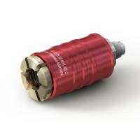 "WEH® Adapter TW111 zum Füllen von Kältemitteln an Schrader-Ventilen 5/16"" SAE, rot (Hochdruck),  EPDM Dichtung, max. 42 bar, gerade Mediumzuleitung UNF 7/16""-20 AG"