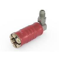 "WEH® Adapter TW111 zum Füllen von Kältemitteln an Schrader-Ventilen 1/4"" SAE,  rot (Hochdruck),  Chloropren Dichtung, max. 42 bar,  90° Mediumzuleitung UNF 7/16""-20 AG"