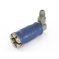 """WEH® Adapter TW111 zum Füllen von Kältemitteln an Schrader-Ventilen 1/4"""" SAE, blau (Niederdruck),  Chloropren Dichtung, max. 42 bar,  90° Mediumzuleitung UNF 7/16""""-20 AG"""